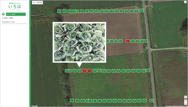 圃場内の位置を特定し 画像を地図表示